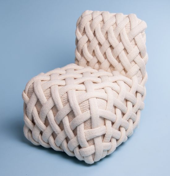 olann knitted wool furniture by claire-anne o'brien