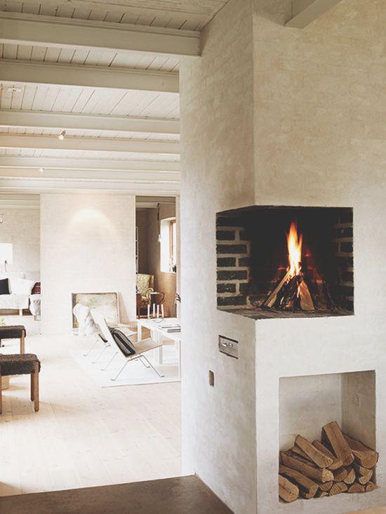 Corner wall fireplace