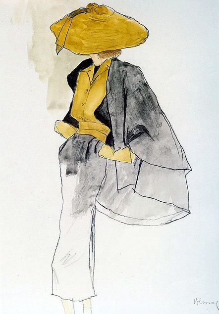 A sketch by Bernard Blossac of one of Dior's 'New Look' designs, 1950
