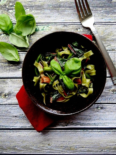 And today in Fancy, Pretty Food, Rainbow Swiss Chard  Scape Fettuccine. #Recipes