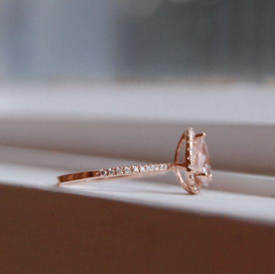 Peach champagne tear drop sapphire and rose gold by EidelPrecious, $900.00
