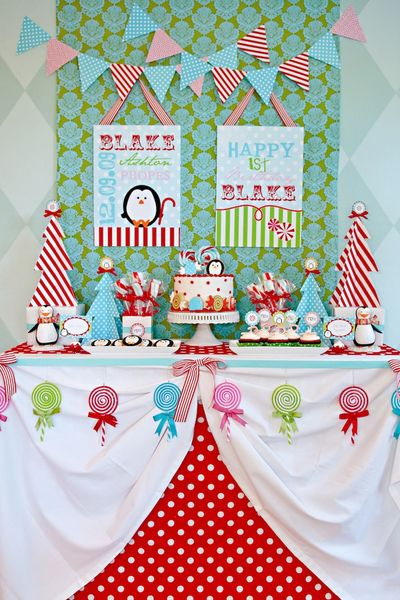 Winter Candyland dessert table. #dessert #table