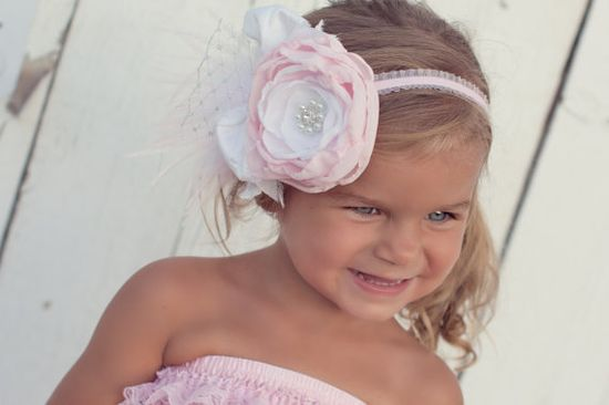 baby pink and white flower headband with baby by PrettyPetalsHair, $37.95        6 mo pics?