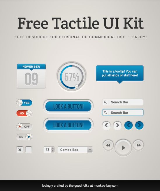 Tactile - Free UI Kit #UI #webdesign cool blue ui buttons and more!!