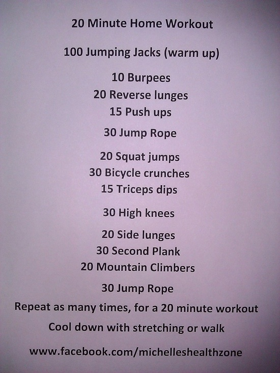 20 Minute Home Workout fitness