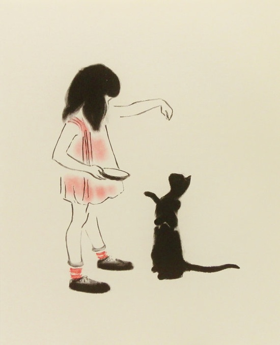 Hand Fed Black Cat Vintage Cat Print Illustration by earlybirdsale, $8.00