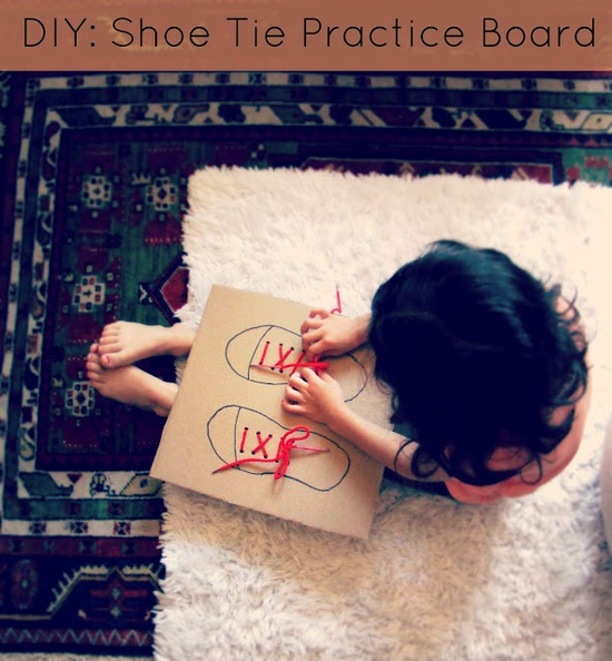 DIY Shoe Tying Board by salsapie: Made by tracing your kid's shoes on cardboard and threading laces through the holes! Your kid can color the shoe on the board too! Thanks to @Steph :: Modern Parents Messy Kids!  #Tying_Shoes #DIY #Shoe_Tie_Board #salsapie