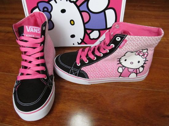 NEW VANS CORRIE HI MISSY GIRLS SHOES sz 1.5 HELLO KITTY