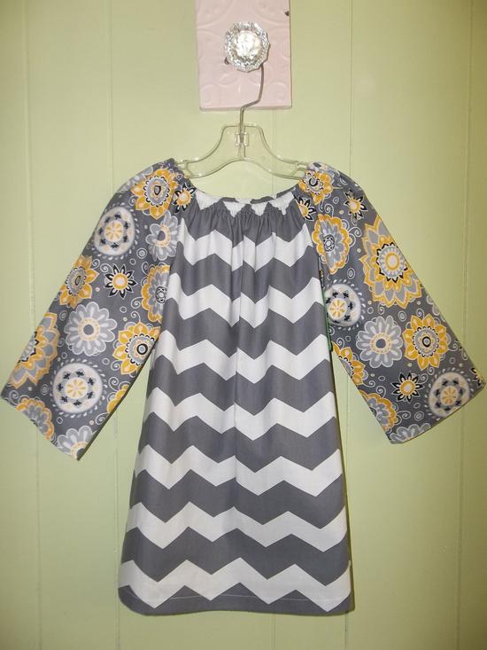 Girls Chevron Stripe Grey & Yellow Peasant Dress. $42.00, via Etsy.