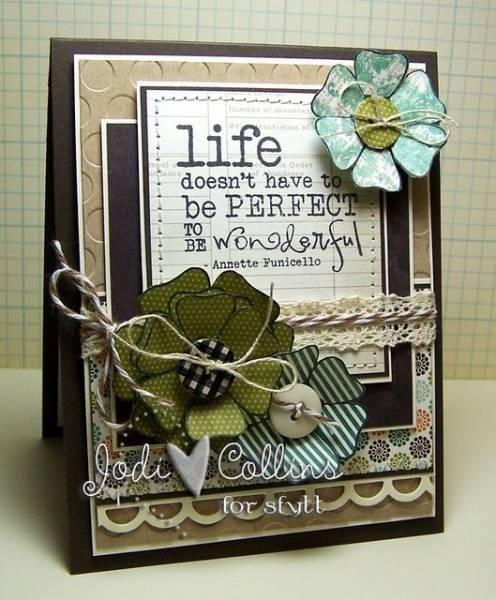 Great card in blues and greens and browns