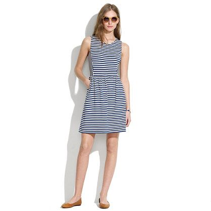 Striped Afternoon Dress - waist defined dresses - shopmadewell's DRESSES - J.Crew