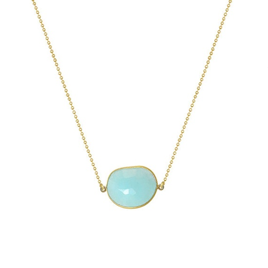 Gold plated irregular shaped Bezel set Necklace handmade with Semi precious stone Seafoam chalcedony - VonEshna Jewelry.