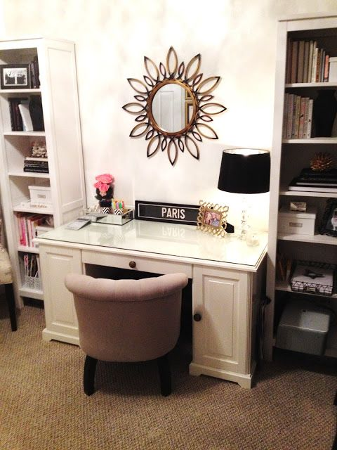 3-piece book shelves/cabinet from Ikea Hemnes line & Ikea Liatorp desk; mirror from Home Decorators Collection