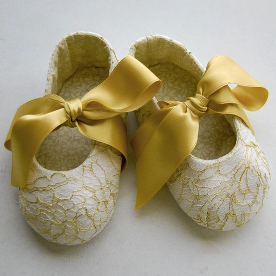 White and gold french lace baby girl shoes