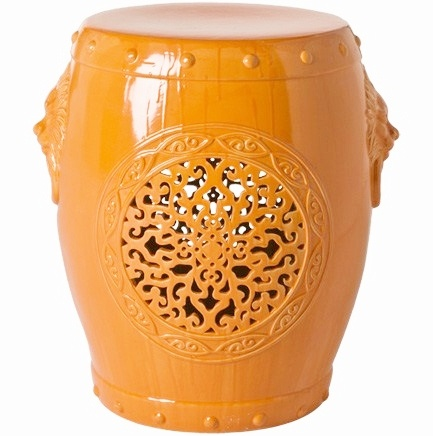 InStyle-Decor.com Beverly Hills Orange Chinese Medallion Garden Stool / Side Table  Inspiring Interior Design Fans With Home Decor Ideas From Hollywood Enjoy & Happy Pinning