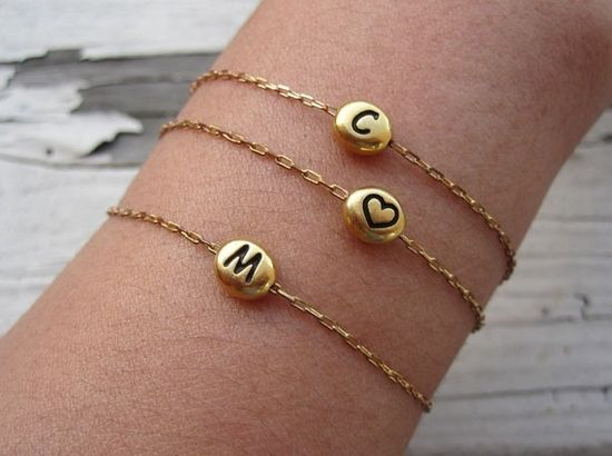 sweet little initial bracelets #etsy