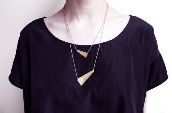 Points Hammered Brass Layered Necklace. $62.00, via Etsy.