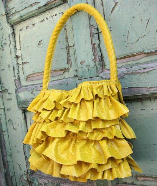 Yellow ruffle purse