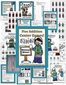 Winter Cute Kids Addition Centers and Interactive Notebook Activities #TeachersFollowTeachers