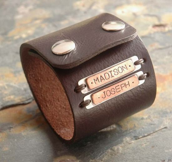 Custom leather cuff bracelet #leather #cuff #bracelet #name #gift #dad #father #family