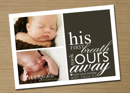 Baby Announcement: Baby Girl, Baby Boy Printable Birth Announcement (First Breath 2 photo) $15.50
