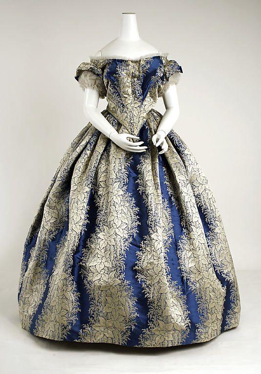 Evening Dress 1855, American, Made of silk