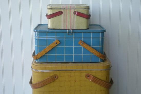 vintage metal picnic baskets