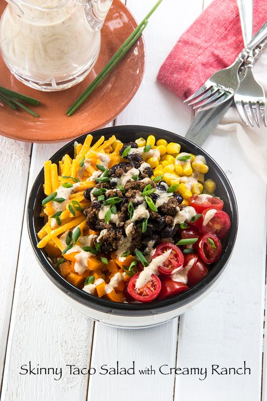 Skinny Taco Salad with Creamy Ranch by thescrumptiouspumpkin #Salad #Taco #Healthy