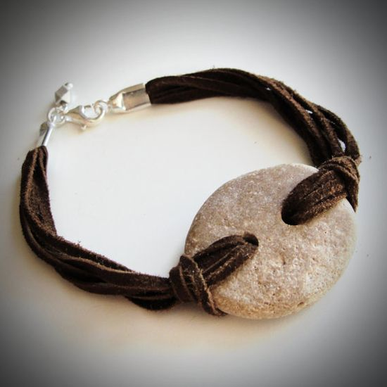 Love!...Beach Rock & Suede Leather bracelet from JewelryByMaeBee on Etsy. $22