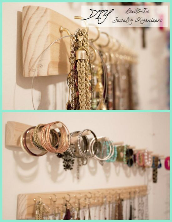 DIY Built In Jewelry Organizer Tutorial - for rings, bracelets, necklaces, etc.!