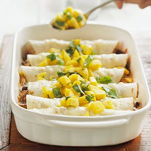Enchiladas with fresh mango salsa