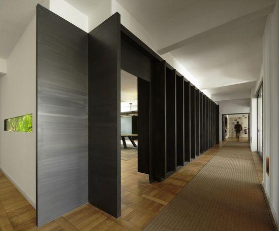 Contemporary Office Interior Design - Office Corridor with Dark Colored Wall