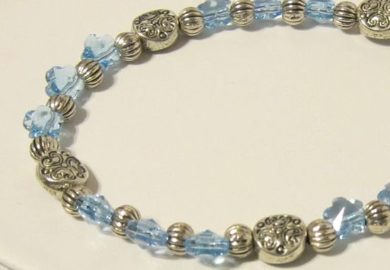 Blue Crystal Flower Bracelet  CIJ Christmas in July Special by RomanticThoughts, $18.00 #CIJ #ChristmasInJuly Stop by the shop to see all the Specials.