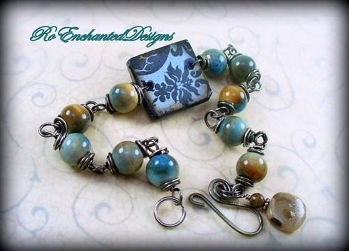 Gun Metal Wire Wrap Ephemera Tile Boho Bracelet w Ceramic Blue Beads