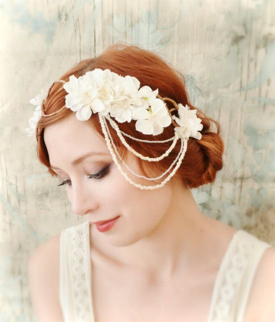 Ivory bridal headpiece, flapper flower crown, wedding accessory. $60.00, via Etsy.