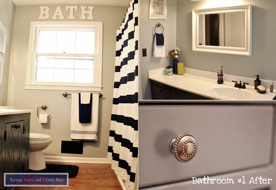 Bathroom Before & After #DIY  #BathroomRenovation  #BeforeAndAfter  #ShoeStringBudget  #RaisingHopeTheBlog