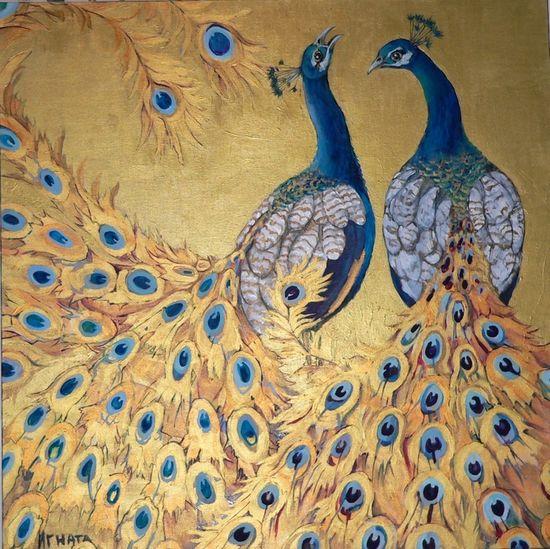 "Sublime peacock piece for a smashing statement. #chinoiserie Saatchi Online Artist: Ignata Vassileva; Paint, Mixed Media ""Harmony"""