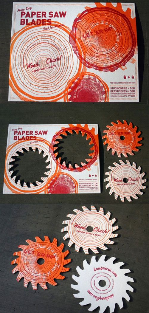 Studio on Fire business cards: letterpressed, pop-out paper saw blades.