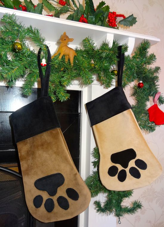Cute Pet Paw Christmas Stocking for your Dog or by robinredcrafts