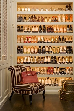 Closet full of shoes, fabulous Louis Vuitton luggage, and a beautiful Birkin