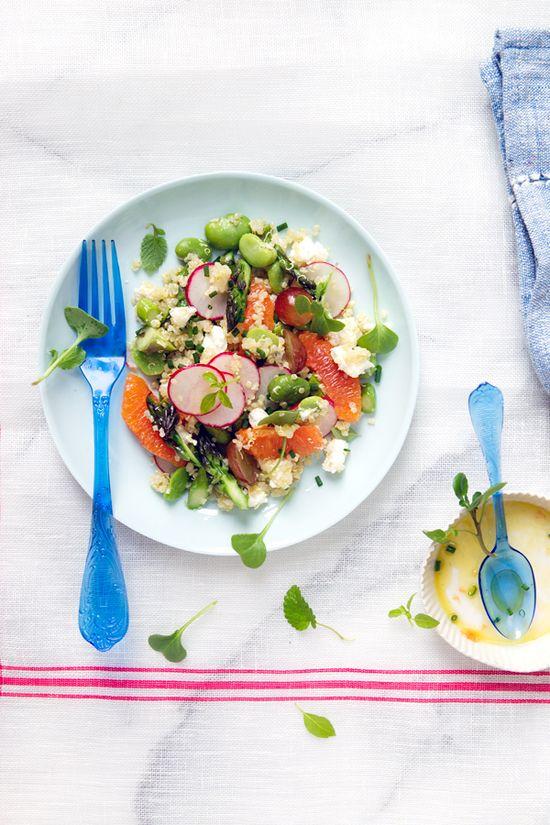 Quinoa Salad w/ Fava Beans, Asparagus, and Orange