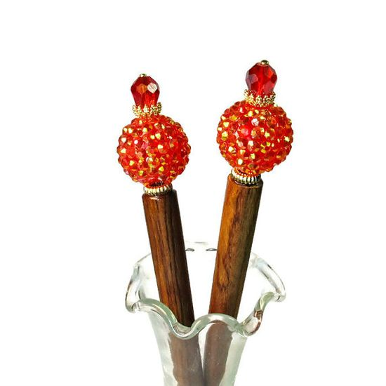 Sparkly Hairsticks, Long Hair #Accessories in Red, Hair Bling #hair