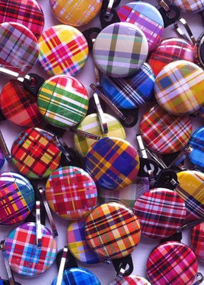 Colourful plaid zipper pulls.