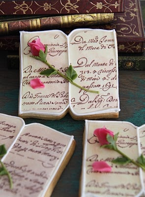 Valentine book with rose cookie