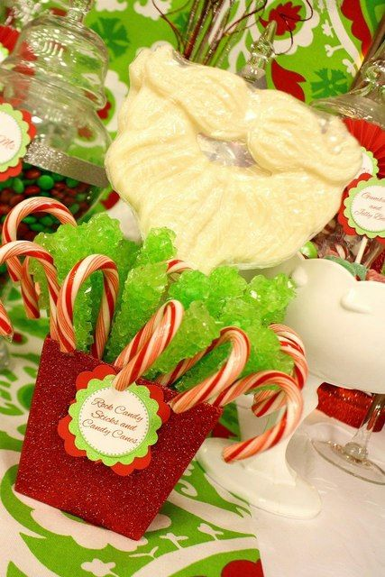 Candy Canes and Green Rock Candy at a Red and Green Christmas Party Cupcakes #redgreen #candy