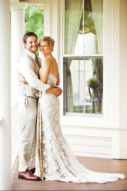 Beautiful Lace Wedding Dress and I love the grooms attire too. Casual without the jacket but still formal. Great color combinations too!