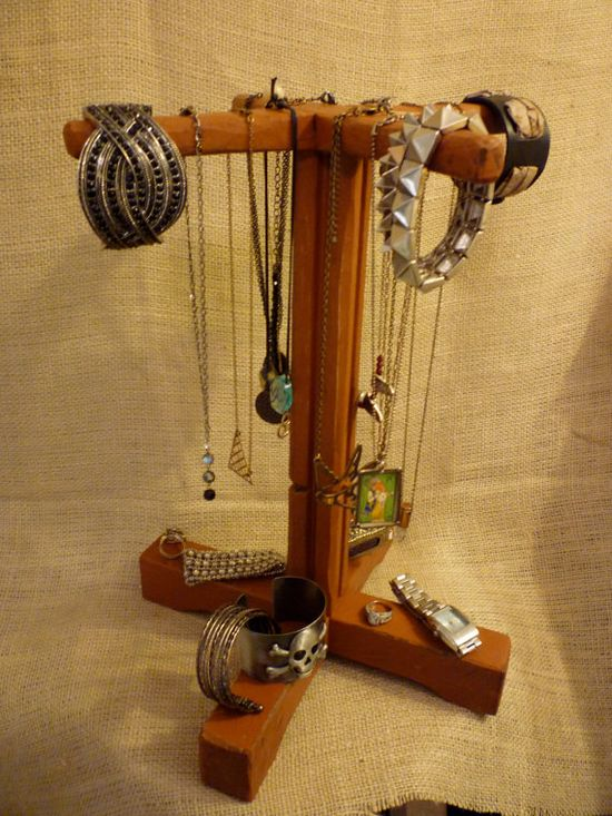 Upcycled Jewelry Organizing Display Rust Necklace by KelkoDesign