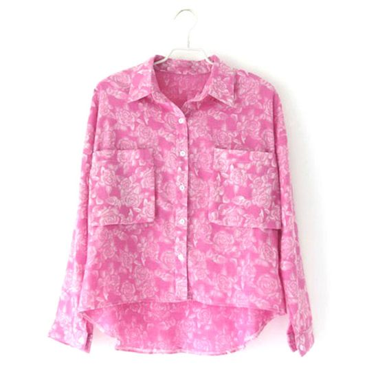 Price:$30.99 Color: Rose Red  Placket: Button  Material: Cotton Fresh Sweet Loose Fitting Rose Print T-shirt