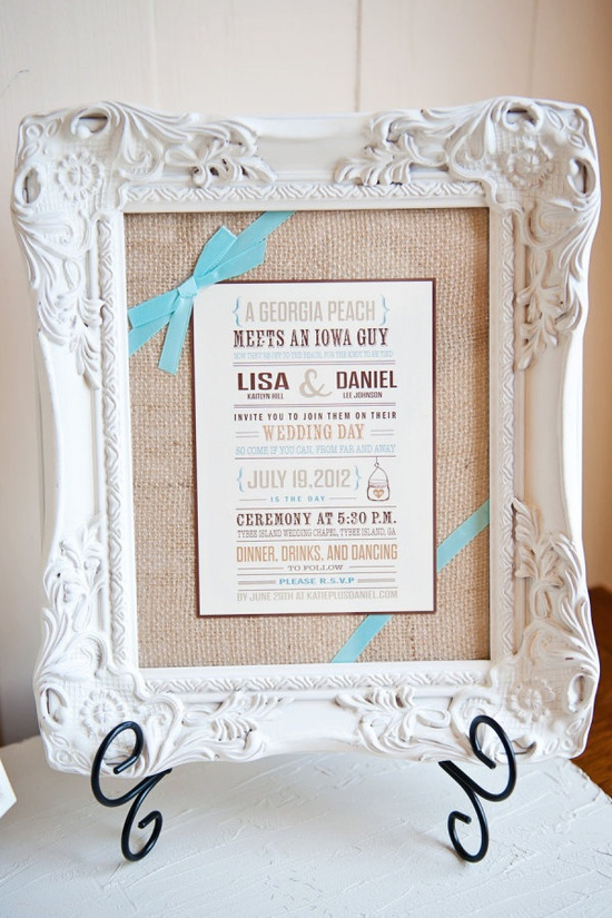 Don't forget to bring an invitation to your wedding for pics! Love the burlap behind it too.