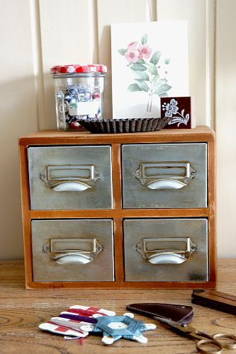 Vintage Style Wood Organizer Iron Drawer